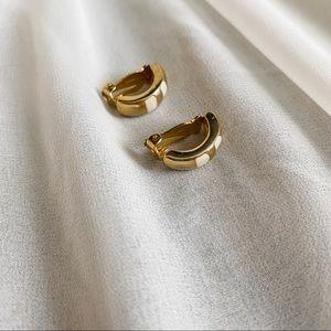 Vintage Gold Cream Lines Mini Clip Hoop Earrings